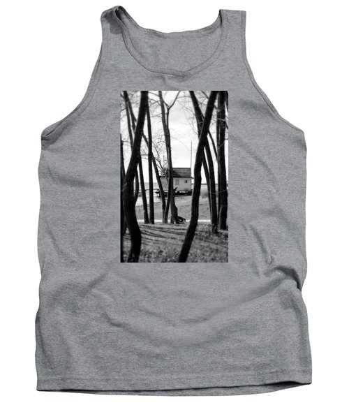 Tank Top featuring the photograph Behind The Trees by Valentino Visentini