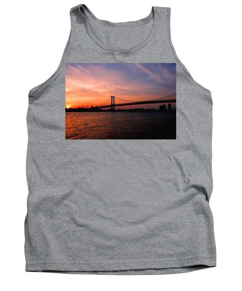Ben Franklin Bridge Sunset Tank Top