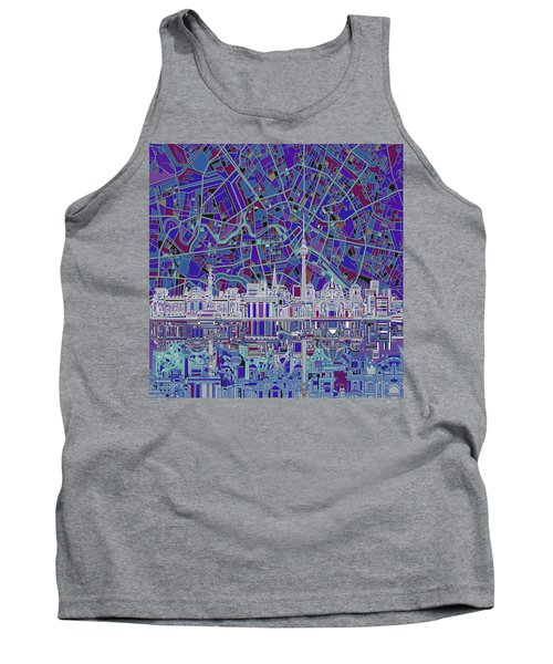Berlin City Skyline Abstract 3 Tank Top by Bekim Art