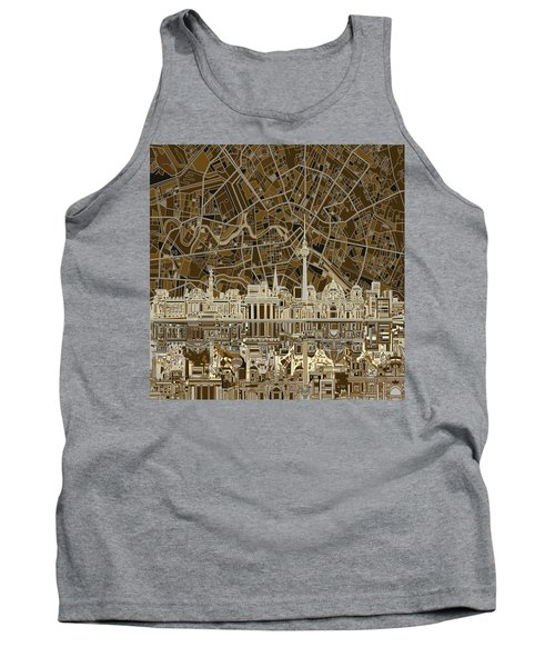 Berlin City Skyline Abstract Brown Tank Top by Bekim Art