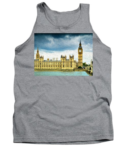 Big Ben And Houses Of Parliament With Thames River Tank Top