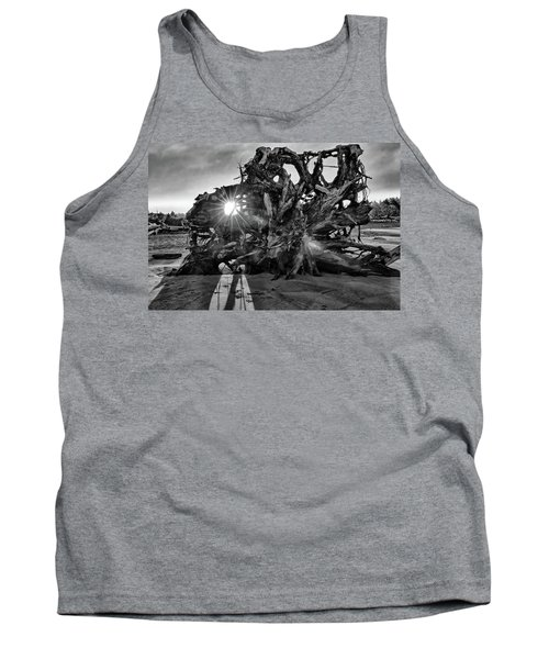 Big Tree On The Beach At Sunrise In Monochrome Tank Top