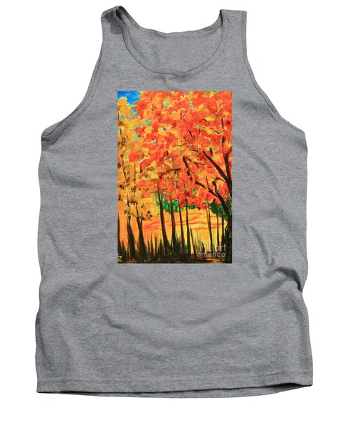 Tank Top featuring the painting Birch Tree /autumn Leaves by Nancy Czejkowski