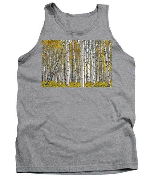 Birch Tree Grove With A Touch Of Yellow Color Tank Top by Randall Nyhof