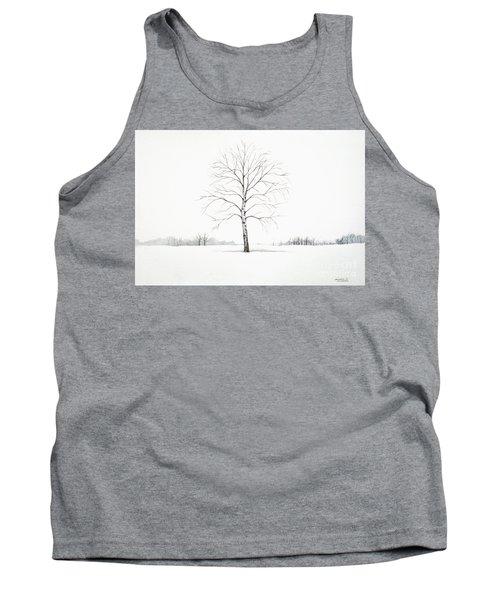 Birch Tree Upon The Winter Plain Tank Top
