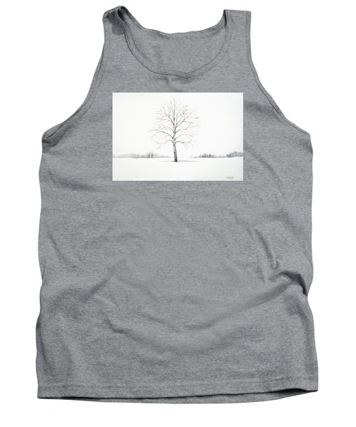 Tank Top featuring the painting Birch Tree Upon The Winter Plain by Christopher Shellhammer
