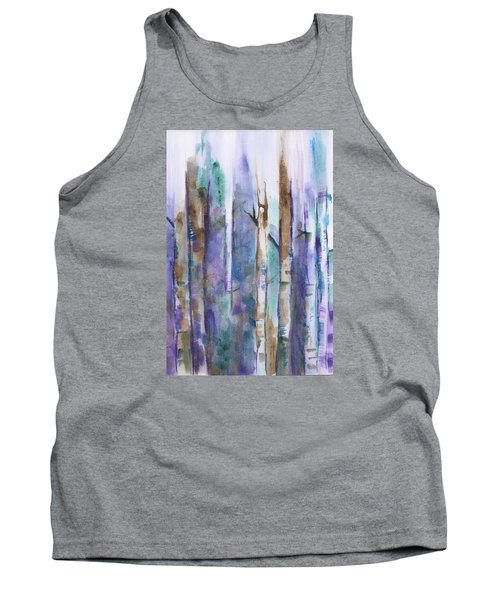 Birch Trees Abstract Tank Top by Frank Bright