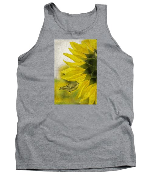 Tank Top featuring the photograph Bird On Sunflower by Betty Denise