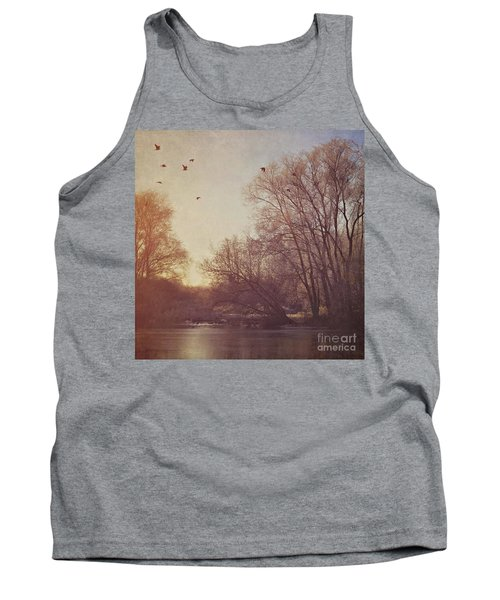 Tank Top featuring the photograph Birds Take Flight Over Lake On A Winters Morning by Lyn Randle