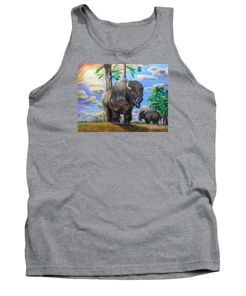 Bison Acrylic Painting Tank Top