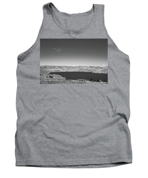 Black And White Landscape Photo Of Dry Glacia Ancian Rock Desert Tank Top