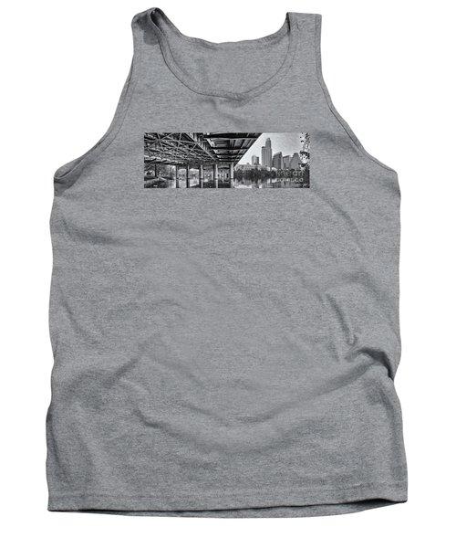 Black And White Panorama Of Downtown Austin Skyline Under The Bridge - Austin Texas  Tank Top by Silvio Ligutti