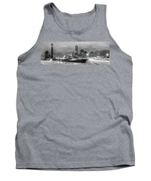 Black And White Panorama Of Downtown Dallas Skyline From South Houston Street - Dallas North Texas Tank Top
