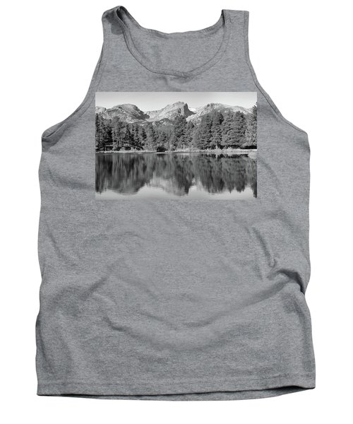 Tank Top featuring the photograph Black And White Sprague Lake Reflection by Dan Sproul