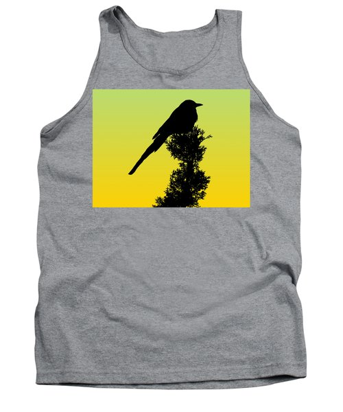 Black-billed Magpie Silhouette - Special Request Background Tank Top