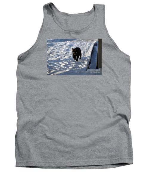 Black Cat In Snow Tank Top by Mark McReynolds