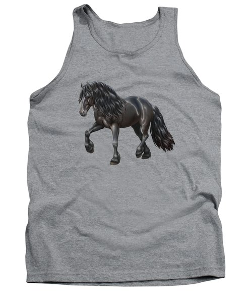 Black Friesian Horse In Snow Tank Top by Crista Forest