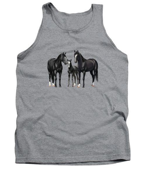 Black Horses In Winter Pasture Tank Top
