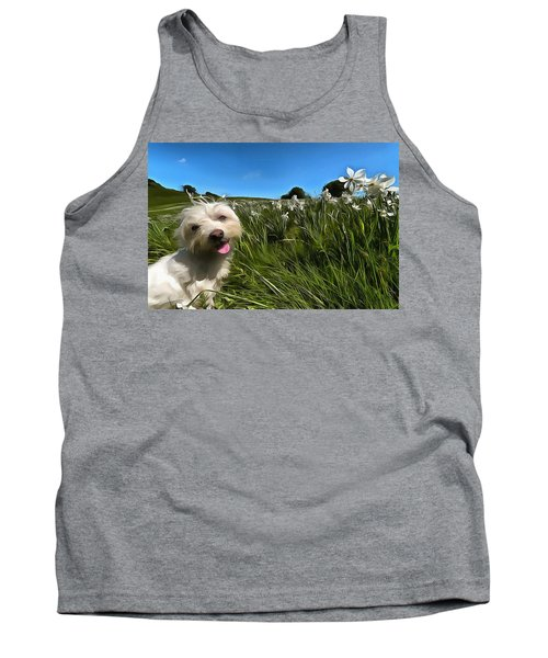 Blooming Daffodils In The Antola Park With Maltese II Paint Tank Top