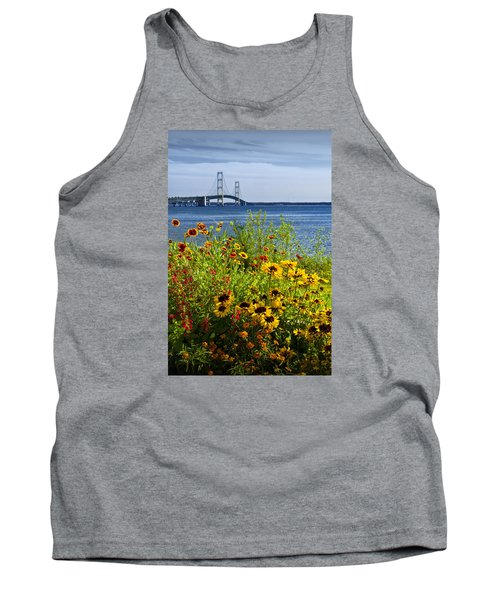 Blooming Flowers By The Bridge At The Straits Of Mackinac Tank Top by Randall Nyhof