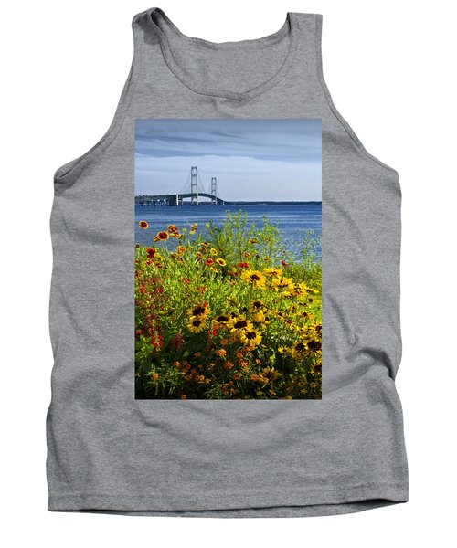 Blooming Flowers By The Bridge At The Straits Of Mackinac Tank Top