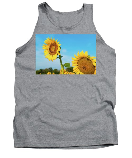 Blooming Sunflower In Blue Sky Tank Top