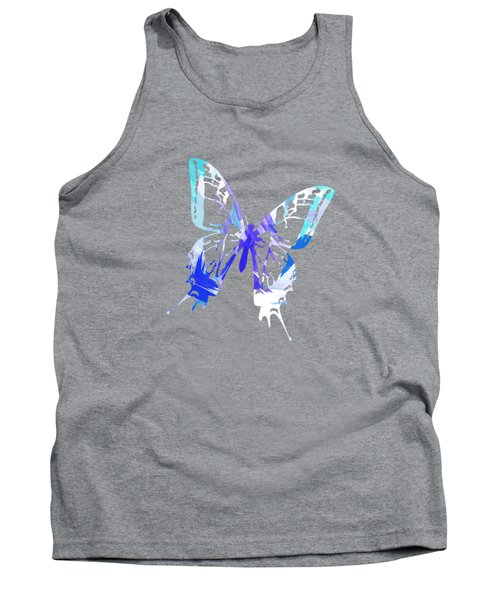Blue Abstract Paint Pattern Tank Top