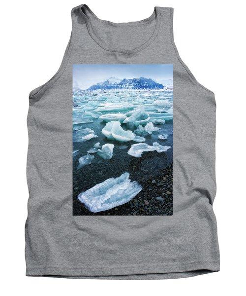 Blue And Turquoise Ice Jokulsarlon Glacier Lagoon Iceland Tank Top by Matthias Hauser