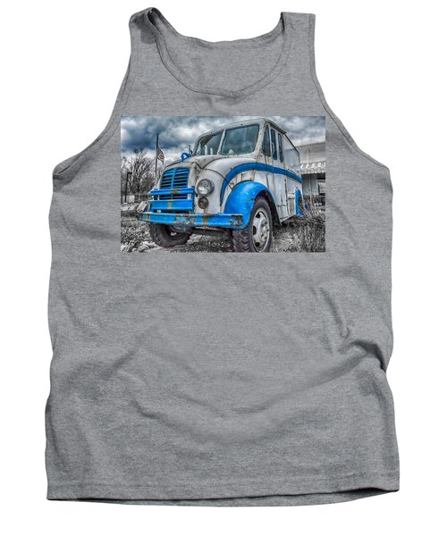 Blue And White Divco Tank Top by Guy Whiteley