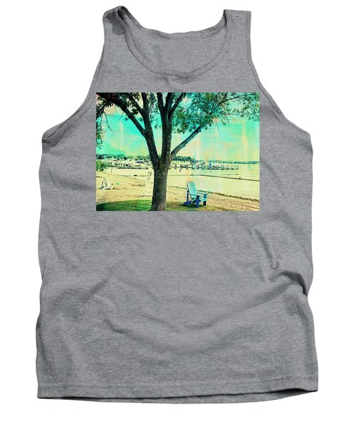 Tank Top featuring the photograph Blue Beach Chair by Susan Stone