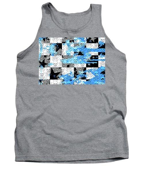 Blue Checker Skull Splatter Tank Top by Roseanne Jones