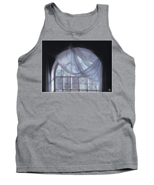 Hand-painted Blue Curtain In An Arch Window Tank Top
