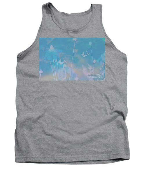 Blue Daisies And Butterflies Tank Top by Sherri's Of Palm Springs