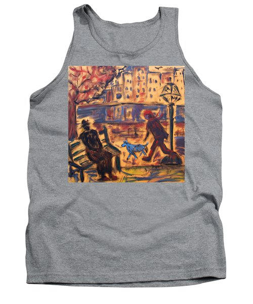 Blue Dog In The City Tank Top