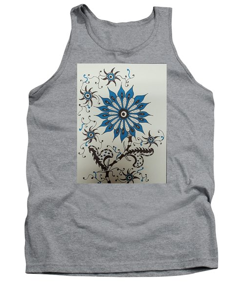 Blue Flower 3 Tank Top