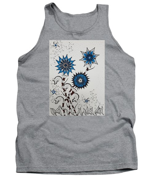 Blue Flower 4 Tank Top