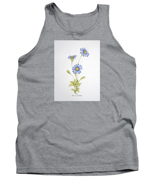 Blue Flower Tank Top by Theresa Marie Johnson