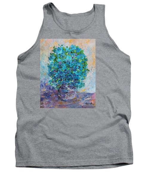 Tank Top featuring the painting Blue Flowers In A Vase by AmaS Art