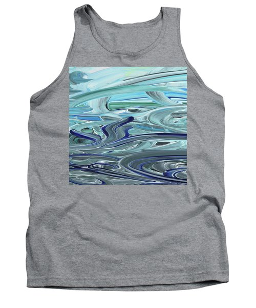 Blue Gray Brush Strokes Abstract Art For Interior Decor Vii Tank Top