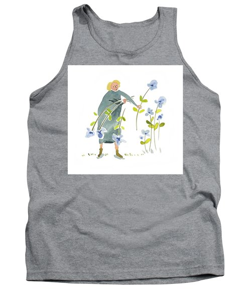 Tank Top featuring the painting Blue Harvest by Leanne WILKES