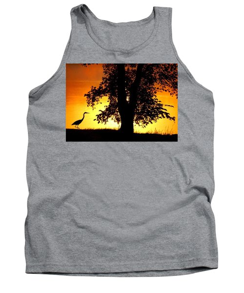 Tank Top featuring the photograph Blue Heron At Sunrise by Sumoflam Photography