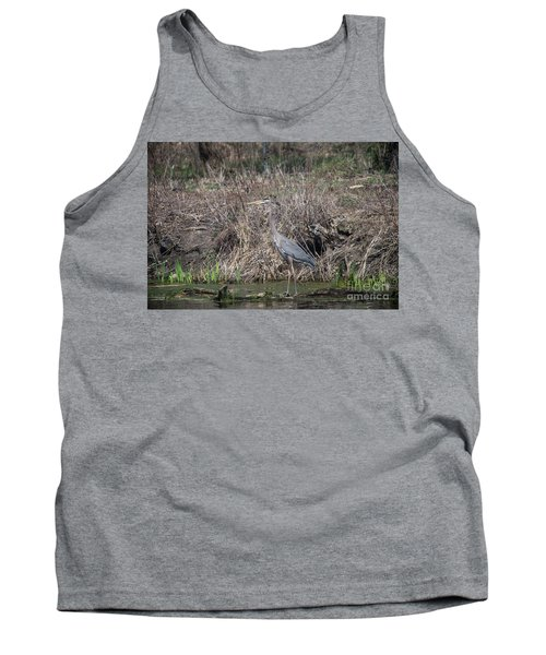 Tank Top featuring the photograph Blue Heron Stalking Dinner by David Bearden