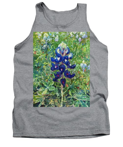 Tank Top featuring the painting Blue In Bloom 2 by Hailey E Herrera