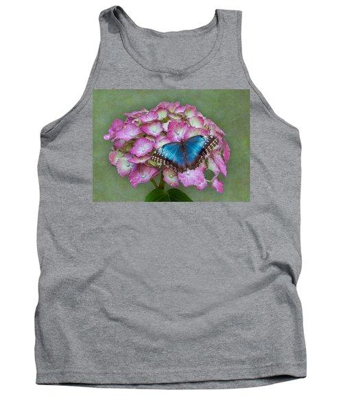 Blue Morpho Butterfly On Pink Hydrangea Tank Top