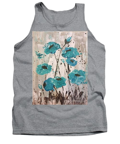 Tank Top featuring the painting Blue Poppies by Lucia Grilletto