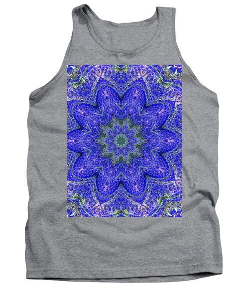 Blue Purple Lavender Floral Kaleidoscope Wall Art Print Tank Top by Carol F Austin