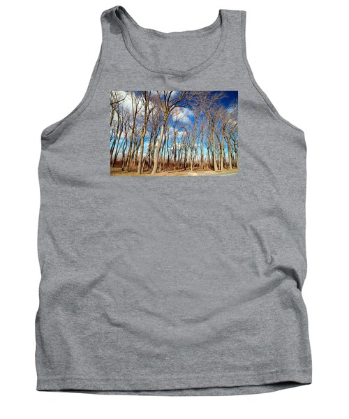 Tank Top featuring the photograph Blue Sky And Trees by Valentino Visentini