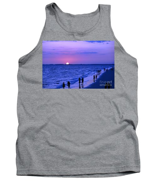 Blue Sunset On The Gulf Of Mexico At Fort Myers Beach In Florida Tank Top