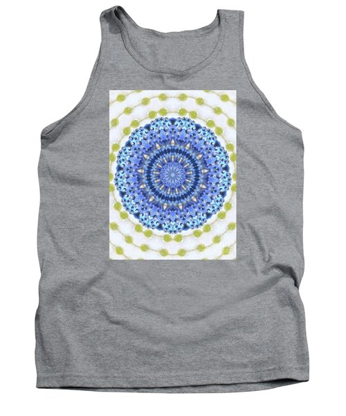 Blue With Green Dots Tank Top by Shirley Moravec