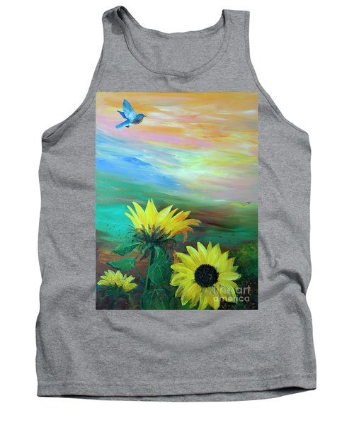 Bluebird Flying Over Sunflowers Tank Top